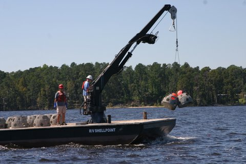 Reef balls being deployed at the New Bern Reef AR 392